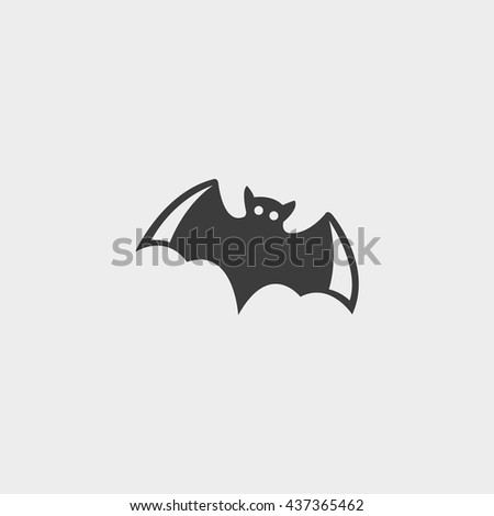 Bat icon in a flat design in black color. Vector illustration eps10 - stock vector