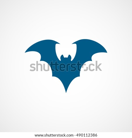 Bat Vampire Halloween Concept Blue Flat Icon On White Background