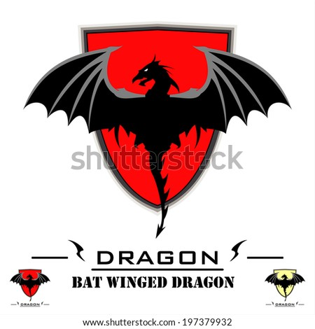 Bat Winged Dragon over shield. Each image placed on separated layers. - stock vector
