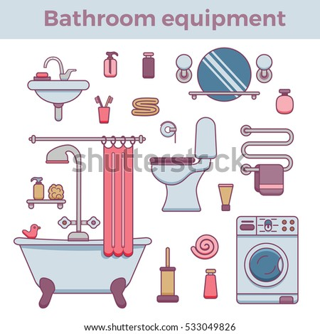 Plumber Service Tools Kit Flat Pictograms Stock Vector ...