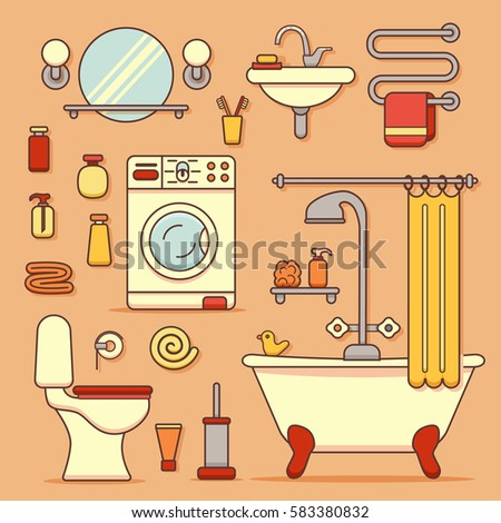 bath equipment icons made in modern line style colorful clip art vector illustration for bathroom