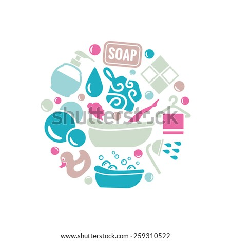 bath icons in circle - stock vector