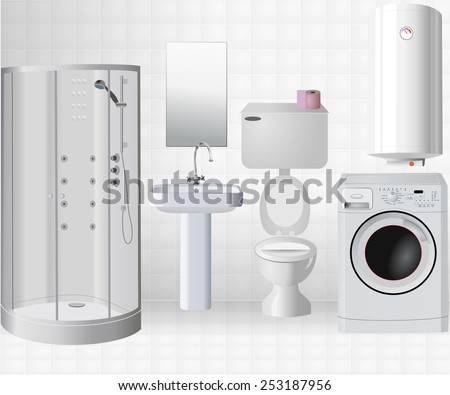 Bath room interior with objects: shower cabin, mirror, toilet, washing machine, sink, water heater. Realistic design of elements and white tiles on wall and floor, vector art image illustration eps10 - stock vector