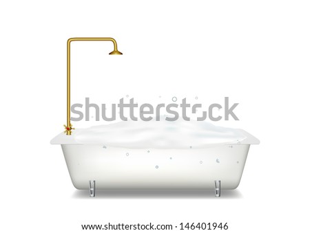 Bath with soap. Vector illustration