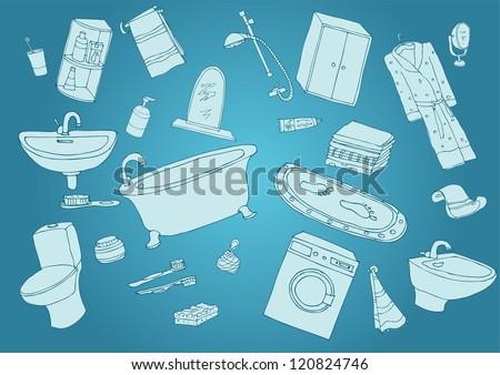 bathroom blue - stock vector