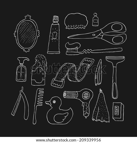 Bathroom. Cosmetics objects. Doodles. Isolated. Vector. - stock vector