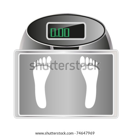 bathroom digital scale with footprint sign - stock vector