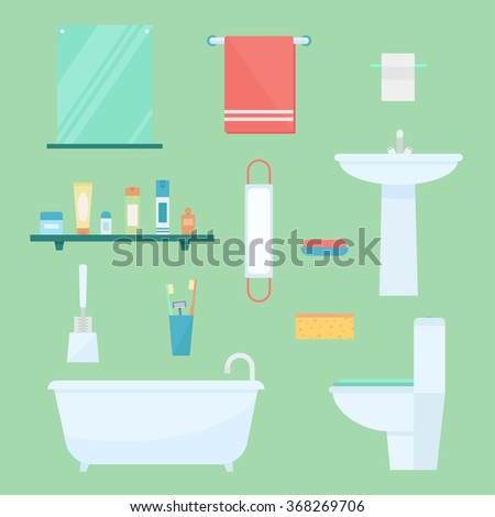 Bathroom elements. Bathroom interior vector. Bathroom equipment. Bathtub sink, toilet, mirror, towel, soap. Bathroom design in flat style. Bathroom furniture isolated. Bathroom architecture.