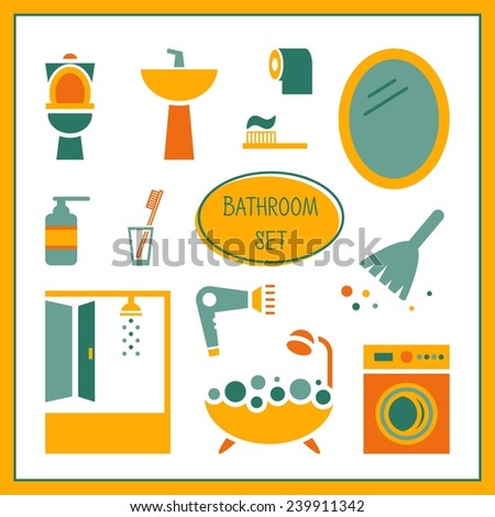 Bathroom elements, set. Restroom, WC, toilet. vector illustration - stock vector