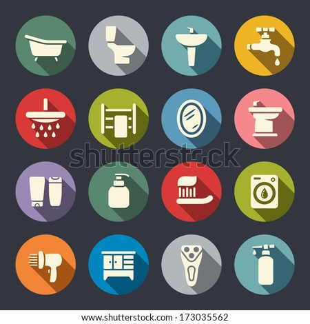 Bathroom flat icon set