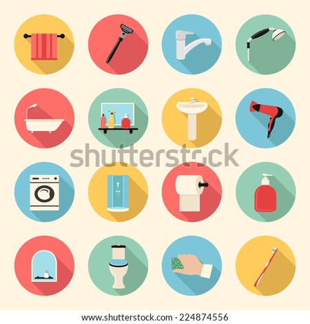 bathroom flat style icons set - stock vector
