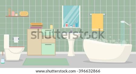 Bathroom interior - stock vector