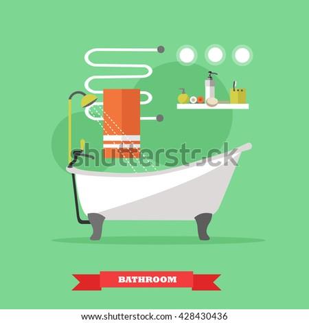 Bathroom interior with furniture. Vector illustration in flat style. Design elements, bathtub,  shelves, heated towel rail. - stock vector