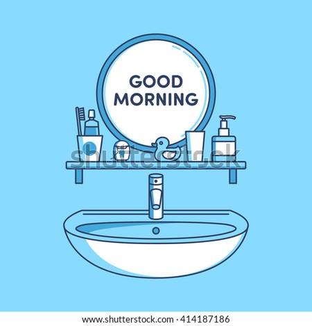 bathroom, mirror, sink, toothpaste, dental floss, toothbrush, duck, rinse - stock vector