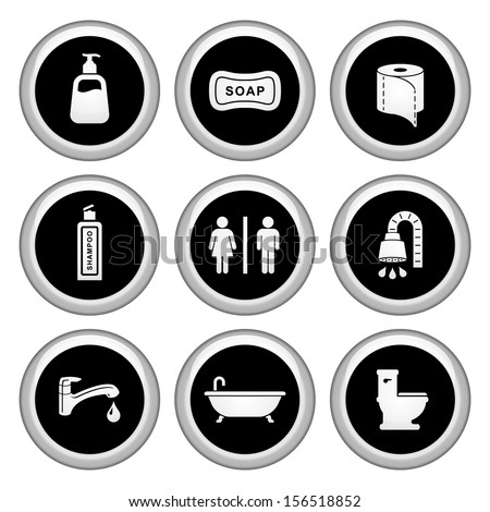 Bathroom / Restroom Icons Silver Icon Set - stock vector