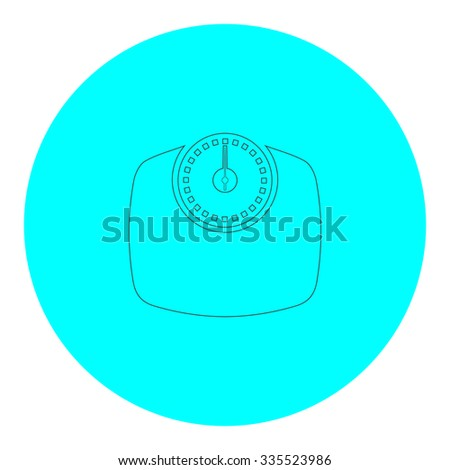 Bathroom scale. Black outline flat icon on blue circle. Simple vector illustration pictogram on white background - stock vector