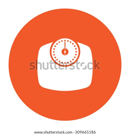 Bathroom scale. Flat white symbol in the orange circle. Vector illustration icon - stock vector