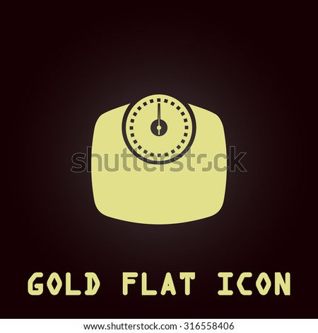 Bathroom scale. Gold flat vector icon. Symbol for web and mobile applications for use as logo, pictogram, infographic element - stock vector