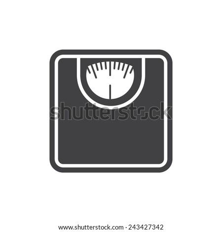 Bathroom scale, modern flat icon - stock vector