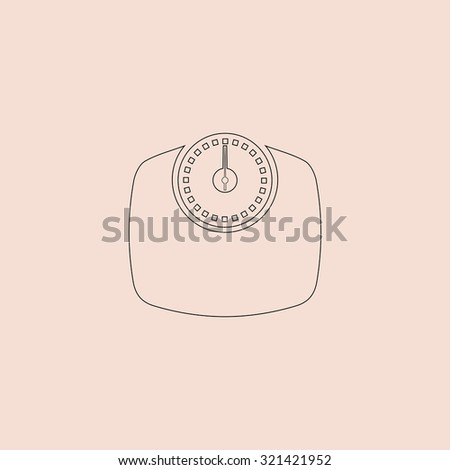 Bathroom scale. OOutline vector icon. Simple flat pictogram on pink background - stock vector