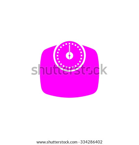 Bathroom scale. Pink flat icon. Simple vector illustration pictogram on white background - stock vector