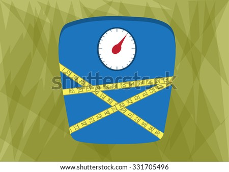 Bathroom scale with yellow measuring tape on green background - stock vector