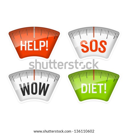 Bathroom scales displaying Help, SOS, Wow and Diet messages. Vector. - stock vector