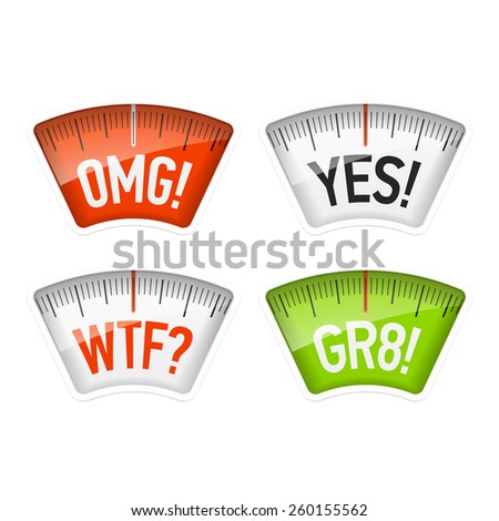 Bathroom scales displaying OMG, YES, WTF and GR8 messages, acronyms. Vector. - stock vector