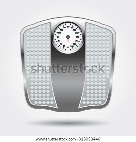 Bathroom scales on a white background with a shadow - stock vector