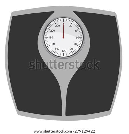 Bathroom scales vector isolated. Floor weight scales. Weighing scales.Weight loss - stock vector