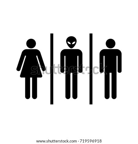 Bathroom Sign For Woman, Man And Alien Vector Icon.