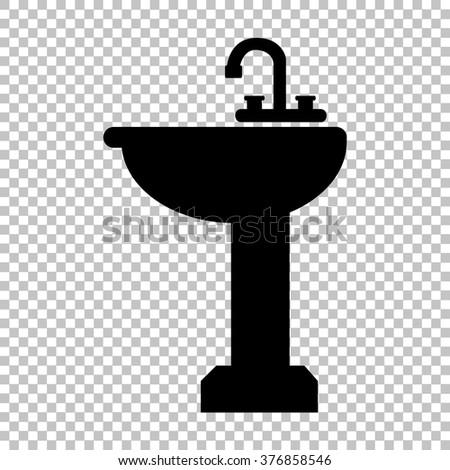 Bathroom sink sign. Flat style icon on transparent background - stock vector