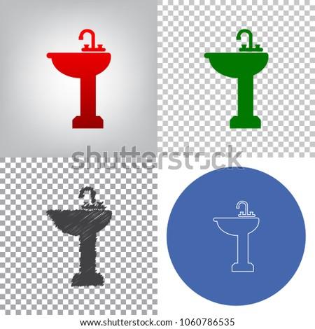 Bathroom Sink Sign Vector 48 Styles Stock Vector 48 Cool Bathroom Sign Vector Style