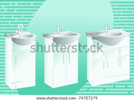Bathroom sinks - stock vector