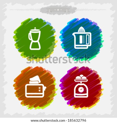 Bathroom Utensils and other related everyday things, from left to right -   Blender, Juicer, Toaster, Kitchen scale.  - stock vector