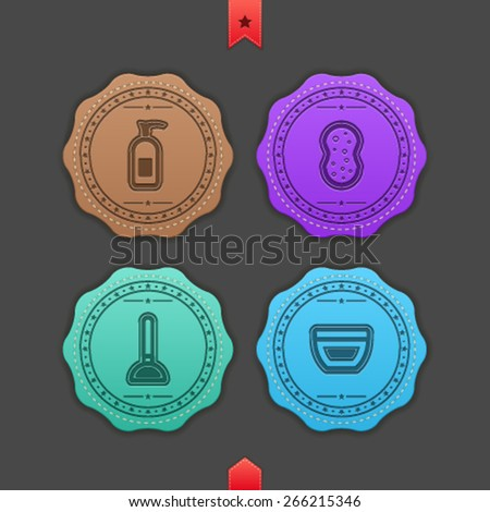 Bathroom Utensils and other related everyday things, from left to right - Soap, Sponge, Plunger, Cream.  - stock vector