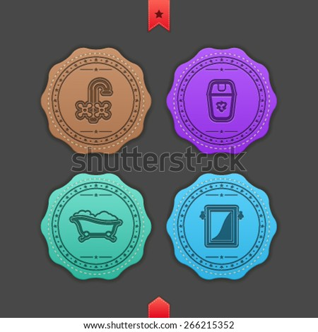 Bathroom Utensils and other related everyday things, from left to right - Valve, Waste container, Bathtub, Mirror.  - stock vector