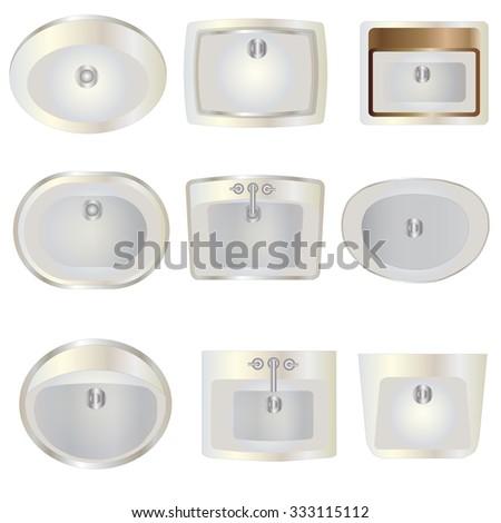 Bathroom , wash basin top view set 10 for interior , vector illustration - stock vector