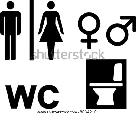 Bathroom WC signs – Vector illustrations - stock vector