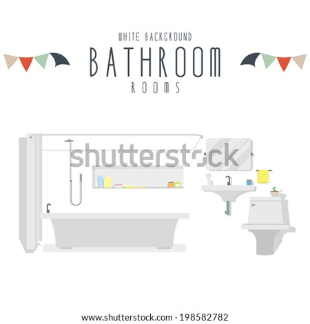 Bathroom (White Background) - stock vector
