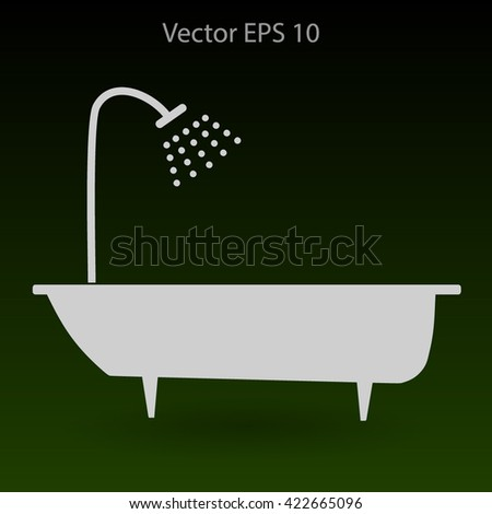 bathtub and shower vector illustration