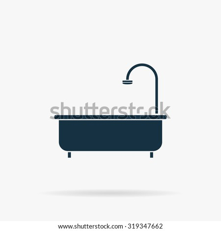 Bathtub. Flat vector web icon or sign on grey background with shadow. Collection modern trend concept design style illustration symbol - stock vector