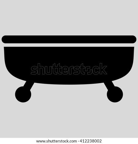 Bathtub vector icon. Bathtub icon symbol. Bathtub icon image. Bathtub icon picture. Bathtub pictogram. Flat black Bathtub icon. Isolated Bathtub icon graphic. Bathtub icon illustration. - stock vector