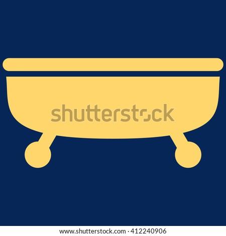 Bathtub vector icon. Bathtub icon symbol. Bathtub icon image. Bathtub icon picture. Bathtub pictogram. Flat yellow Bathtub icon. Isolated Bathtub icon graphic. Bathtub icon illustration. - stock vector