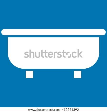 Bathtub vector icon. Bathtub icon symbol. Bathtub icon image. Bathtub icon picture. Bathtub pictogram. Flat white bathtub icon. Isolated bathtub icon graphic. Bathtub icon illustration. - stock vector