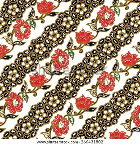 Batik beautiful vintage design background. - stock vector