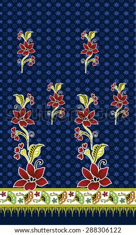 Batik pattern background.Design Pattern with flowers.
