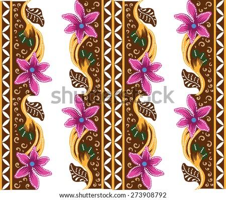 Batik pattern. The design of vintage fabric. - stock vector