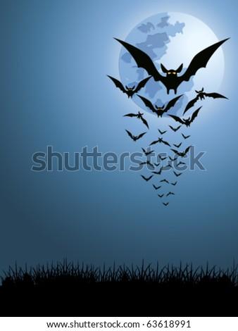 bats in the moonlight - vector illustration - stock vector