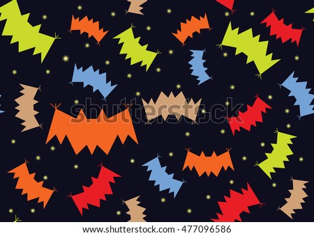 Bats night background halloween with stars seamless texture